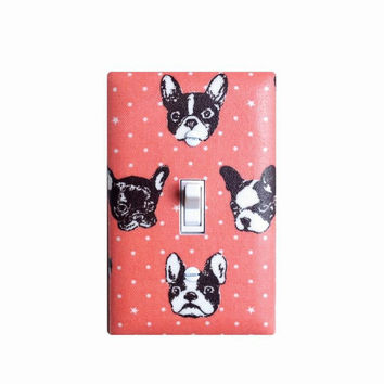 Dog Light Switch Plate Cover / Bedroom Nursery Office Decor / Girls Room / Bull Dog Coral Pink Brown White Polka Dots