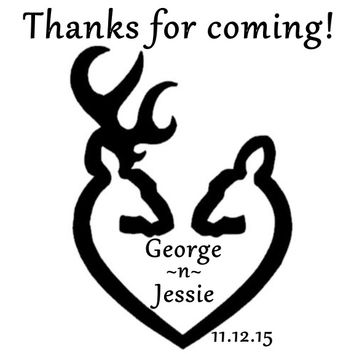 Black and White Buck and Doe Wedding Personalized Favor Tags