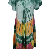 Mogul Interior Selena Womens Sundress Tie- Dye Flare Loose Fit A-Line Resortwear Swing Dresses Cover up S/M