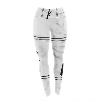 "KESS Original ""Gray Marble Monogram"" Yoga Leggings"