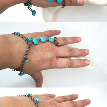 Gorgeous Boho copper chain and Howlite Turquoise Slave Bracelet, Bronze, Blue Turquoise, Handmade Ring and Bracelet Combo,By nesrin Design