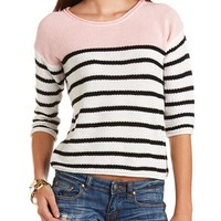Striped Color Block Pullover Sweater: Charlotte Russe