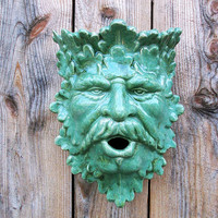 Greenman planter/birdhouse spring green by sandsceramics on Etsy