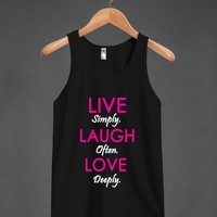 live laugh love pink/blk tank top-jh - glamfoxx.com - Skreened T-shirts, Organic Shirts, Hoodies, Kids Tees, Baby One-Pieces and Tote Bags