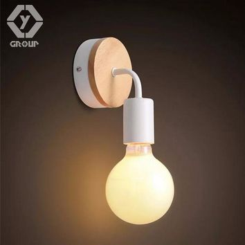 OYGROUP Modern Led Wood Wall Lamp Iron Metal Wall Light Fixtures Living Bedroom Home Lighting Lamparas De Pared Vintage #OY16W03