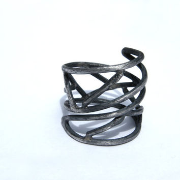 Twigs. black sterling silver ring, large handmade ring, wrapped around finger ring, open adjustable ring