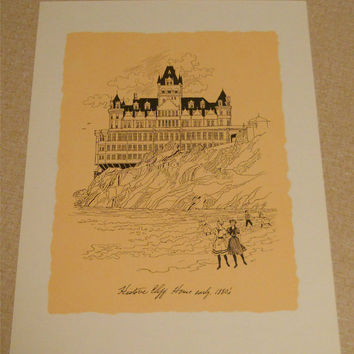 San Francisco Prints Six 8.5 x 11 Art Reproductions Historal 1800s Landmark Sketches Cliff House, South Pacific Station