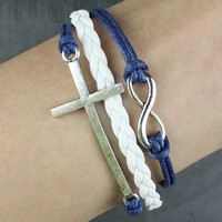 Kama - leather bracelet Navy blue leather rope bracelet, silver cross bracelet, infinite hope bracelet Infinity bracelet