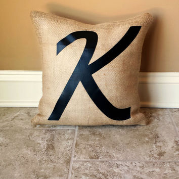 Personalized Burlap Pillow with Pillow Form or Just the Pillow Cover, Initial, Initials, Letter Pillow, Decorative Pillow **FREE SHIPPING**