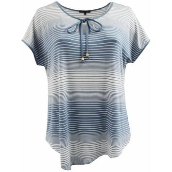 BNY Corner Women Plus Size Thin Thick Stripes Keyhole Knit Top Tee T Shirt Blue White 1X 170.13 BNY Corner - Walmart.com