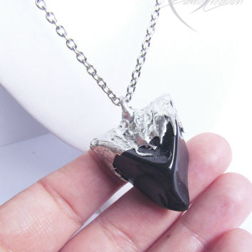 Obsidian Necklace - Obsidian Pendant - Onyx Necklace - Black Stone Necklace - Soldered Necklace - Natural Stone - Soldered Pendant