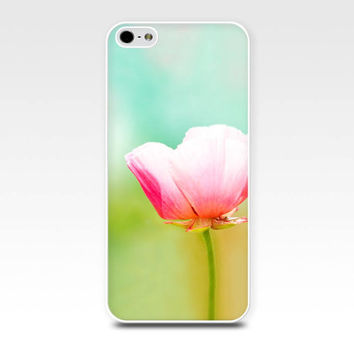 iphone case 4 4s 5 pink floral iphone case poppy pastel pink flowers photography art iphone 4 4s 5 case nature botanical teal mint yellow