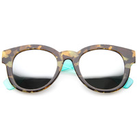 Two Toned Translucent Marble Print Mirrored Lens Sunglasses A094
