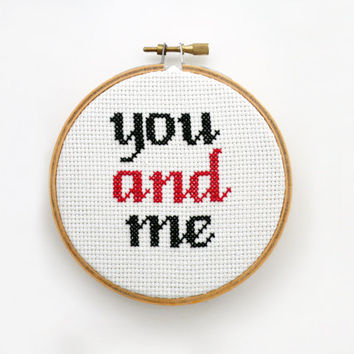 You and Me Cross Stitch Pattern, Embroidery Pattern, Love Pattern, Weeding GIft, Embroidery Wedding Bouquet  -PDF- Instant Download