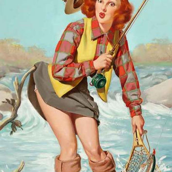 Moo Pin Up Fly Fishing Pinup Girl Poster X With Moo Pin Up Amazing