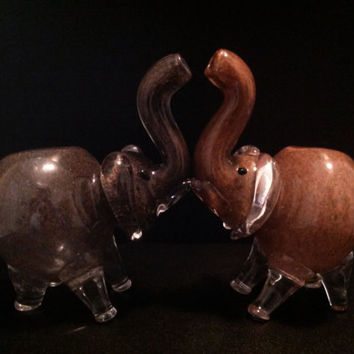His and Hers Glass Elephant Pipe Pair - (2) Natural Colored Smoking Bowls