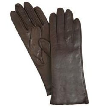 Isotoner Women's Smooth Leather Gloves - Cashmere Lined