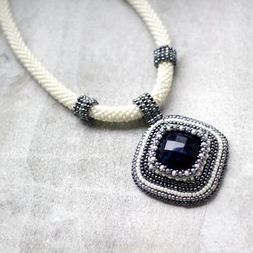 Edwardian Bead Embroidered Necklace, Navy Blue Faceted Cabochon Necklace, Hematite and Ivory Necklace, Bead Crochet Statement Necklace
