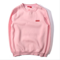 Sweater Collection Edition Supreme autumn and winter new men and women couple cotton velvet plus cashmere sweater Small standard pink
