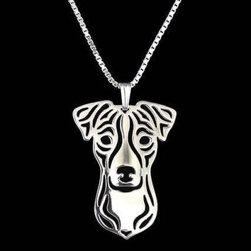 Jack Russell Terrier Dog Cut Out Shaped Pendant Necklace in Silver | Animal Jewelry