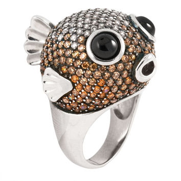 Brown Zirconia Studded Blowfish Sterling Silver Ring