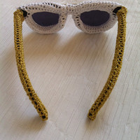 White - Golden Knitted Sunglasses