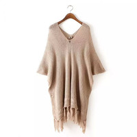 Plain V-Neck Tassel Knitted Sweater
