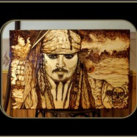 Johnny Depp, Pirates of the Carribbean,Wood burned Art, Pyrography, Wood burned plaques
