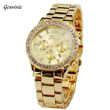 2017 Genvivia GN Watch Luxury Crystal Dress watch Date Quartz watches Super Quality relogio feminino Ladies WristWatch 3colors