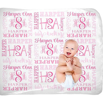 Baby Girl Name Blanket - Swaddle Initial Blanket - Pink Blanket Pillow Set - Personalized Nursery - Girl Bedding - Newborn Girl Shower Gift