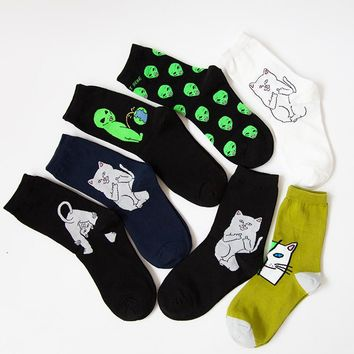 New Arrival Cotton Crew Socks Women Men of RIPNDIP Alien Cat Pattern Hip Hop Harajuku Skateboard Sox Fixed Gear Street Tide
