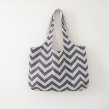 Large Chevron Tote, Brown and Blue Chevron, Beach Bag, Gym Bag, Ready to Ship