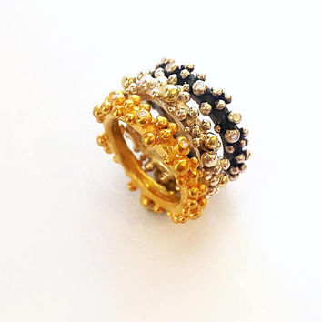 Beaded dotted gold ring, Bubble ring, Stackable ring, Stacking ball rings, Unique engagement ring, Valentine's day gift