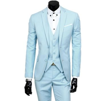 suit + jacket + pants 3 pieces sets / 2018 fashion men leisure business suits / Man's blazers jacket coat + trousers + waistcoat