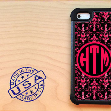 Lobster black damask iPhone 5 case with extra protection - Monogram iPhone 5 hard case, 2 piece rubber liner case, personalized case