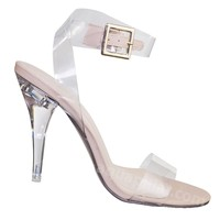 May2 Clear Lucite Ankle Strap Sandal - Women Transparent Acrylic High Heel