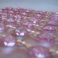 1 Yard Pink Chandelier Crystal Chains Swags Pink Crystal Prism Yards Shabby Chic Cottage Style Chandelier Ornaments