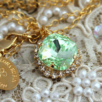Mint clear Necklace,bridesmaids,Bride jewelry - 18k gold filled necklace with 14k plated Gold