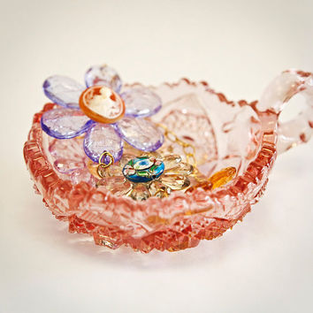 Pink Carnival Glass Bowl,  Jewelry holder, Anthpologie, Urban Outfitters Accent Piece