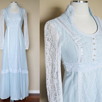 Light Blue and Lace Renaissance Dress - 1970's Vintage Hippie
