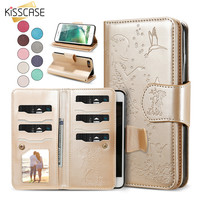 KISSCASE Women Leather Wallet Phone Cases For iPhone 6 7 6s 5 5S SE Case Card Slot Photo Frame Cover For iPhone 7 Plus 6 6s Plus