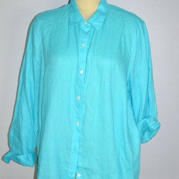"J JILL ""Love Linen"" Button Down Oversized Top Sz Med/Large Shirt"