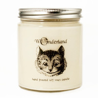 Cheshire Cat Candle, Alice in Wonderland Candle, Custom Scented Candle, Alice in Wonderland Gift, Alice in Wonderland Scented Candle