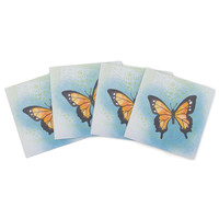 "Padgett Mason ""Summer Flutter"" Blue Orange Indoor/Outdoor Place Mat (Set of 4)"