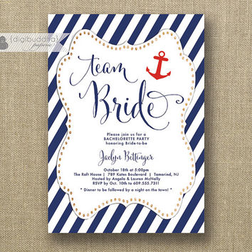 Team Bride Nautical Bachelorette Party Invitation Navy & Red Anchor Gold Glitter Modern Bridal Hen Lingerie DIY Printable or Printed- Jaclyn