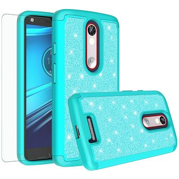 Motorola Droid Turbo 2 Case | Moto X Force Case | Kinzie Bounce Case, Glitter Bling Heavy Duty Shock Proof Hybrid Case with [HD Screen Protector] Dual Layer Protective Phone Case Cover for Motorola Droid Turbo 2/X Force/Kinzie Bounce - Teal