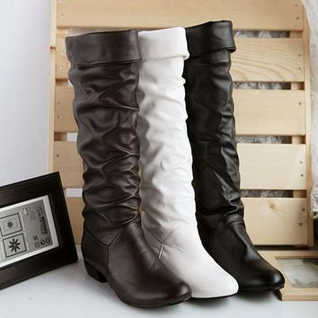 Slouch leather knee high boots