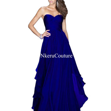 Royal Blue Emerald Green Red Chiffon Dress Bridesmaid Dresses Wedding Party Dresses AQ33