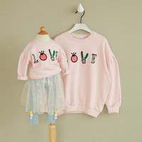 Family Matching Clothes Mother Daughter Clothes Cartoon Pink Hoodies family look Christmas mother daughter outfits mesh skirt