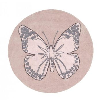 Butterfly Cotton Rug - Vintage Pink